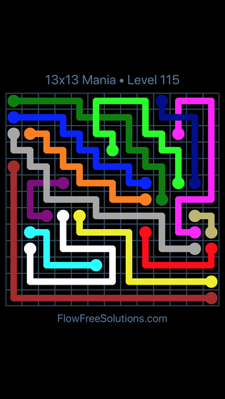 Solution and Answer to the Puzzle for Flow Free: Bridges 13x13 Mania Level 115