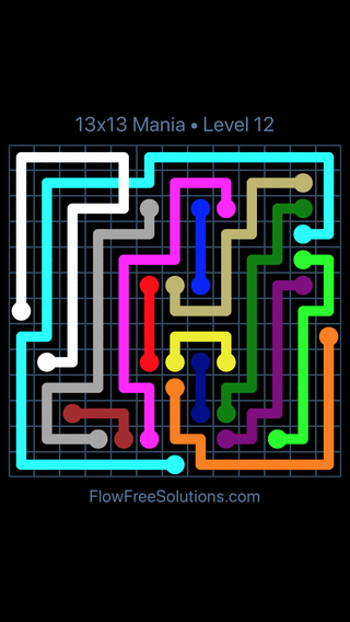 Solution and Answer to the Puzzle for Flow Free: Bridges 13x13 Mania Level 12