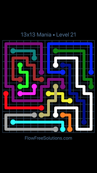 Solution and Answer to the Puzzle for Flow Free: Bridges 13x13 Mania Level 21