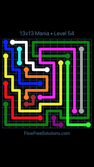 Solution and Answer to the Puzzle for Flow Free: Bridges 13x13 Mania Level 54