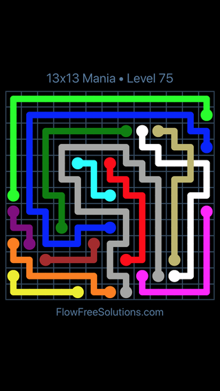 Solution and Answer to the Puzzle for Flow Free: Bridges 13x13 Mania Level 75