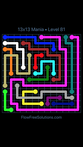 Solution and Answer to the Puzzle for Flow Free: Bridges 13x13 Mania Level 81