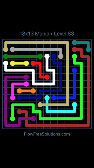 Solution and Answer to the Puzzle for Flow Free: Bridges 13x13 Mania Level 83