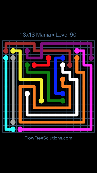 Solution and Answer to the Puzzle for Flow Free: Bridges 13x13 Mania Level 90