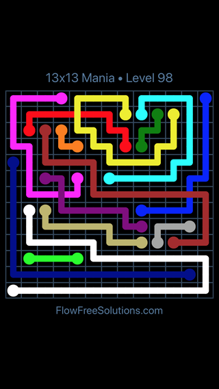 Solution and Answer to the Puzzle for Flow Free: Bridges 13x13 Mania Level 98