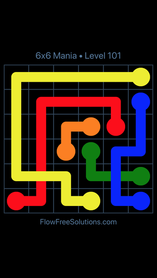 Solution and Answer to the Puzzle for Flow Free: Bridges 6x6 Mania Level 101