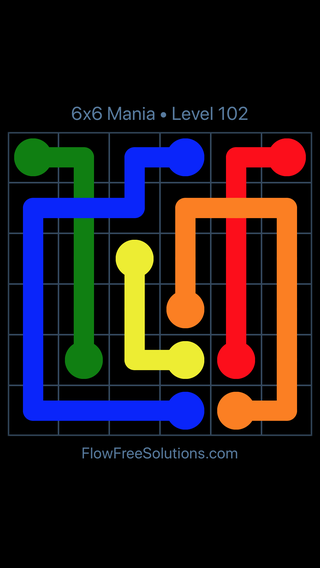 Solution and Answer to the Puzzle for Flow Free: Bridges 6x6 Mania Level 102