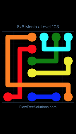 Solution and Answer to the Puzzle for Flow Free: Bridges 6x6 Mania Level 103