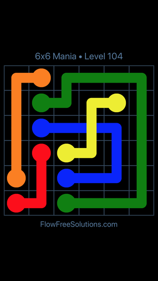 Solution and Answer to the Puzzle for Flow Free: Bridges 6x6 Mania Level 104