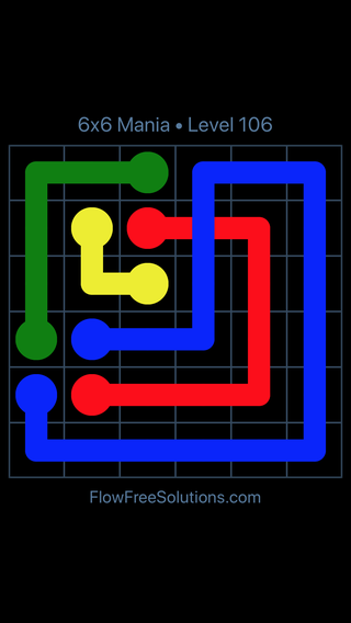 Solution and Answer to the Puzzle for Flow Free: Bridges 6x6 Mania Level 106
