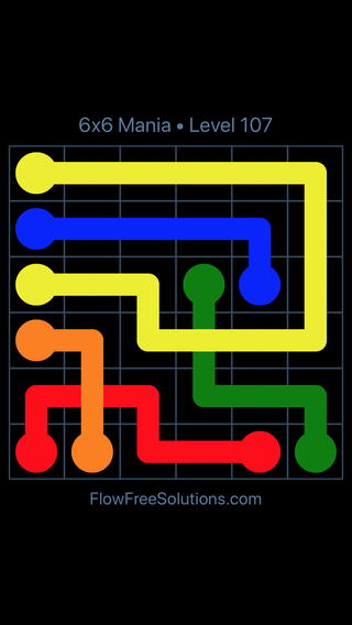 Solution and Answer to the Puzzle for Flow Free: Bridges 6x6 Mania Level 107
