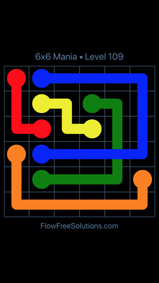 Solution and Answer to the Puzzle for Flow Free: Bridges 6x6 Mania Level 109