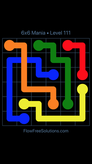 Solution and Answer to the Puzzle for Flow Free: Bridges 6x6 Mania Level 111