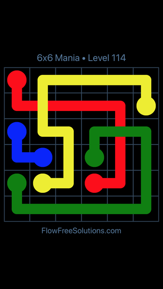 Solution and Answer to the Puzzle for Flow Free: Bridges 6x6 Mania Level 114