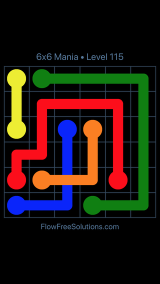 Solution and Answer to the Puzzle for Flow Free: Bridges 6x6 Mania Level 115