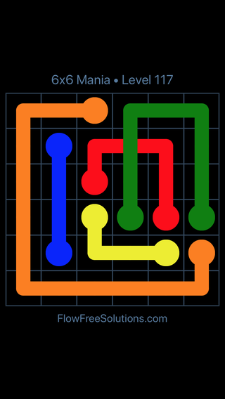 Solution and Answer to the Puzzle for Flow Free: Bridges 6x6 Mania Level 117