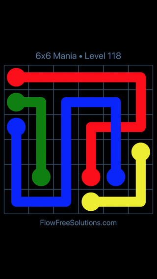 Solution and Answer to the Puzzle for Flow Free: Bridges 6x6 Mania Level 118