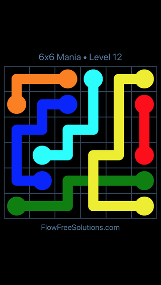 Solution and Answer to the Puzzle for Flow Free: Bridges 6x6 Mania Level 12