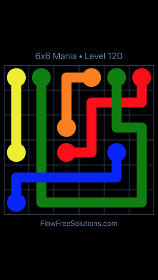 Solution and Answer to the Puzzle for Flow Free: Bridges 6x6 Mania Level 120