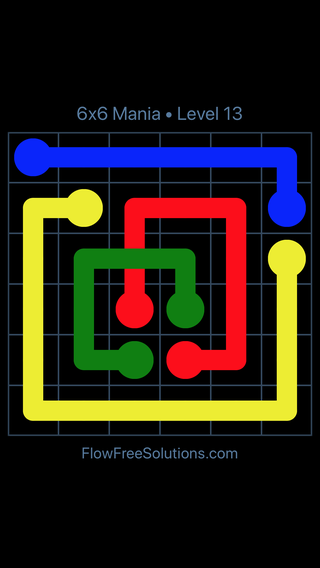 Solution and Answer to the Puzzle for Flow Free: Bridges 6x6 Mania Level 13