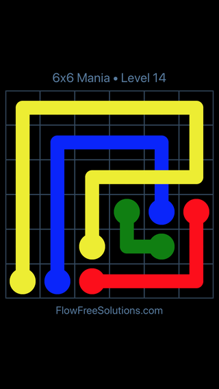 Solution and Answer to the Puzzle for Flow Free: Bridges 6x6 Mania Level 14