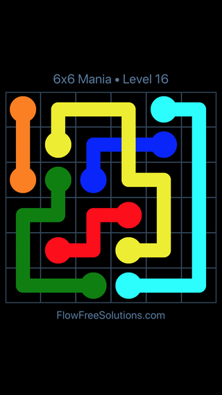 Solution and Answer to the Puzzle for Flow Free: Bridges 6x6 Mania Level 16