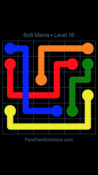 Solution and Answer to the Puzzle for Flow Free: Bridges 6x6 Mania Level 18