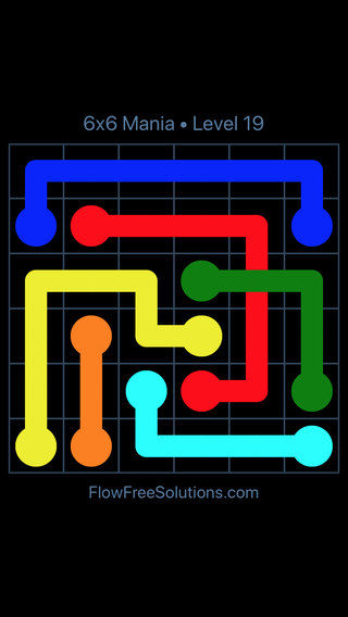 Solution and Answer to the Puzzle for Flow Free: Bridges 6x6 Mania Level 19