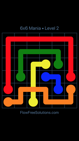 Solution and Answer to the Puzzle for Flow Free: Bridges 6x6 Mania Level 2