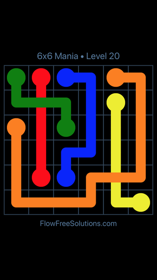 Solution and Answer to the Puzzle for Flow Free: Bridges 6x6 Mania Level 20