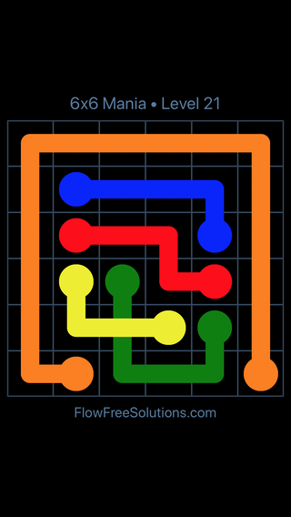 Solution and Answer to the Puzzle for Flow Free: Bridges 6x6 Mania Level 21