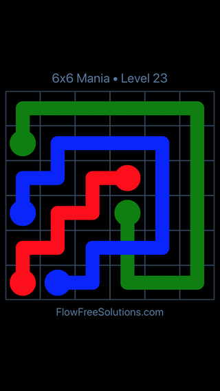 Solution and Answer to the Puzzle for Flow Free: Bridges 6x6 Mania Level 23