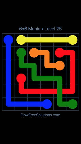 Solution and Answer to the Puzzle for Flow Free: Bridges 6x6 Mania Level 25