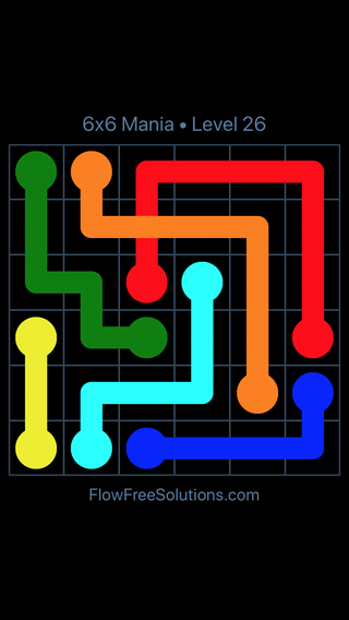 Solution and Answer to the Puzzle for Flow Free: Bridges 6x6 Mania Level 26