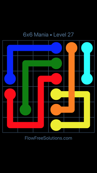 Solution and Answer to the Puzzle for Flow Free: Bridges 6x6 Mania Level 27