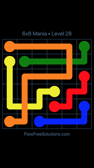 Solution and Answer to the Puzzle for Flow Free: Bridges 6x6 Mania Level 28