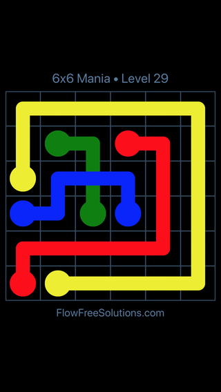 Solution and Answer to the Puzzle for Flow Free: Bridges 6x6 Mania Level 29