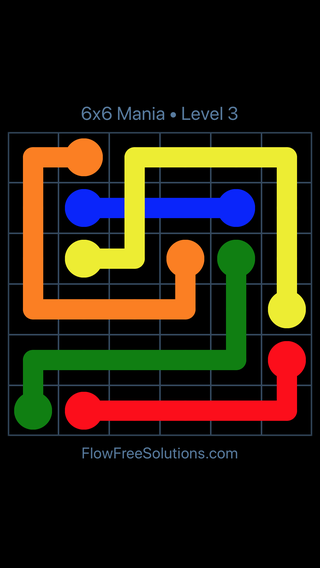 Solution and Answer to the Puzzle for Flow Free: Bridges 6x6 Mania Level 3