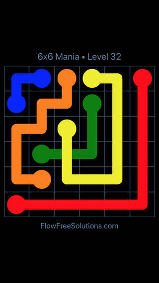 Solution and Answer to the Puzzle for Flow Free: Bridges 6x6 Mania Level 32