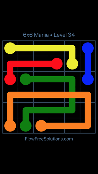Solution and Answer to the Puzzle for Flow Free: Bridges 6x6 Mania Level 34