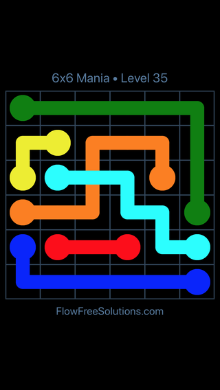 Solution and Answer to the Puzzle for Flow Free: Bridges 6x6 Mania Level 35
