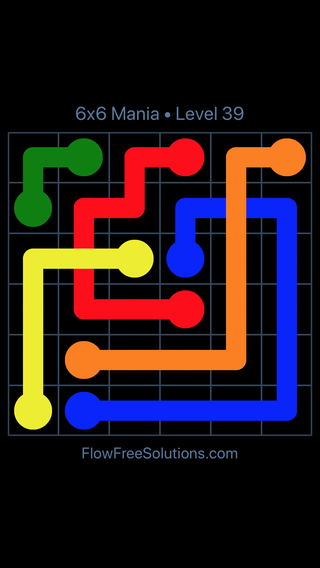 Solution and Answer to the Puzzle for Flow Free: Bridges 6x6 Mania Level 39