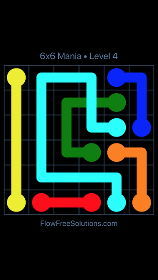 Solution and Answer to the Puzzle for Flow Free: Bridges 6x6 Mania Level 4