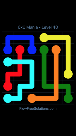 Solution and Answer to the Puzzle for Flow Free: Bridges 6x6 Mania Level 40