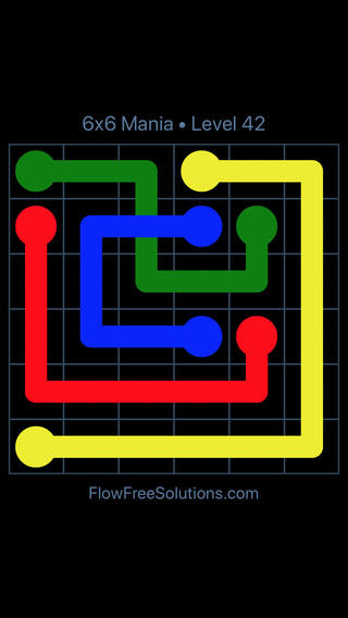 Solution and Answer to the Puzzle for Flow Free: Bridges 6x6 Mania Level 42