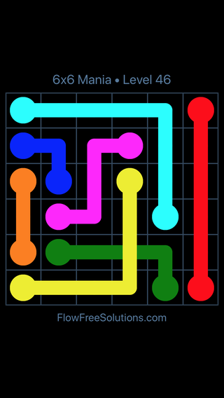 Solution and Answer to the Puzzle for Flow Free: Bridges 6x6 Mania Level 46