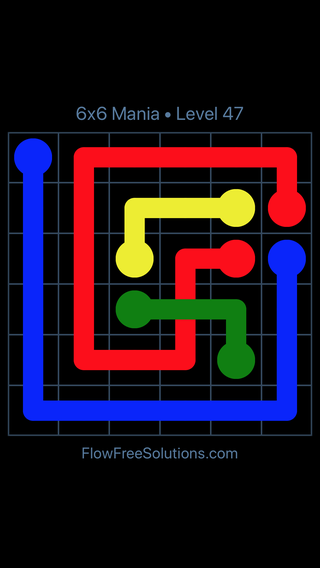Solution and Answer to the Puzzle for Flow Free: Bridges 6x6 Mania Level 47