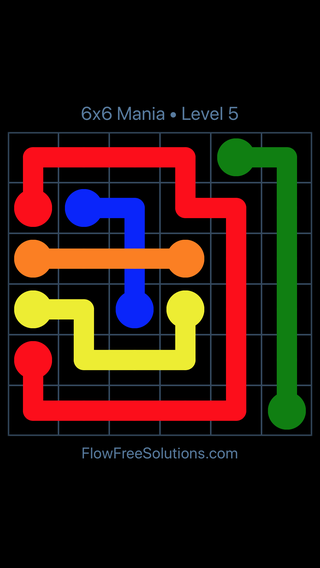 Solution and Answer to the Puzzle for Flow Free: Bridges 6x6 Mania Level 5