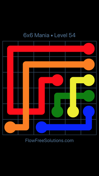 Solution and Answer to the Puzzle for Flow Free: Bridges 6x6 Mania Level 54