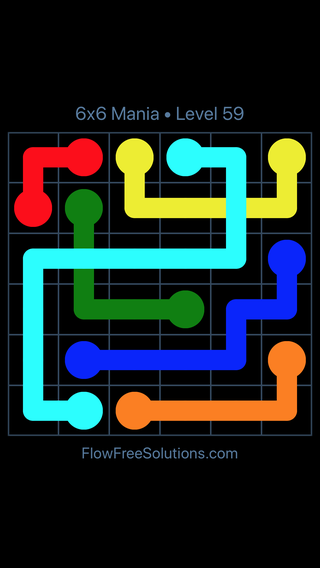 Solution and Answer to the Puzzle for Flow Free: Bridges 6x6 Mania Level 59